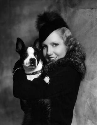 Jean Arthur With Boston Terrier, 1935 Print by Everett