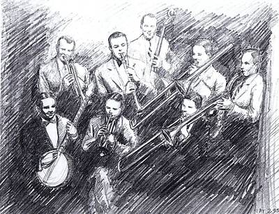 Saxophone Drawing - Jean Goldkette Orchestra 1926 by Mel Thompson
