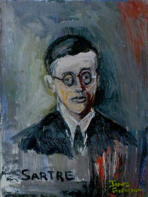 James Gallagher Painting - Jean Paul Sartre by James Gallagher