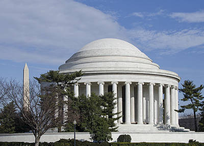 Jefferson Memorial And Washington Monument  Print by Brendan Reals