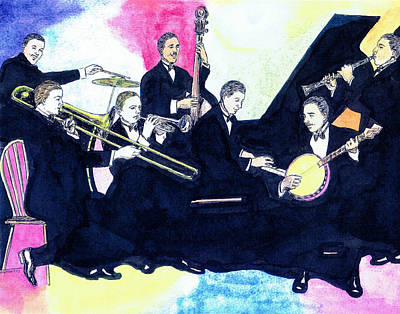 Trombone Drawing - Jelly Roll And The Red Hot Peppers by Mel Thompson