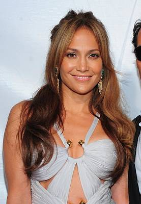 Gold Earrings Photograph - Jennifer Lopez Wearing An Emilio Pucci by Everett