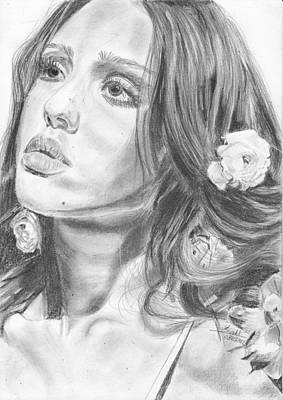 Jessica Alba Drawing - Jessica Alba by Annie GODET