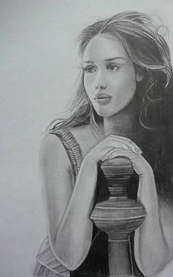 Jessica Alba Drawing - Jessica Alba Portrait   by Ashish Mohan