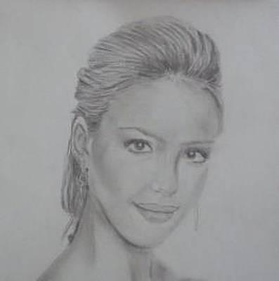 Jessica Alba Drawing - Jessica Alba Portrait by Nate Schofield
