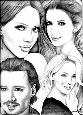 Jessica Alba Drawing - Jessica Alba Sandra Bullock Johnny Depp And Uma Thurman by Steve Baker Sanfellipo