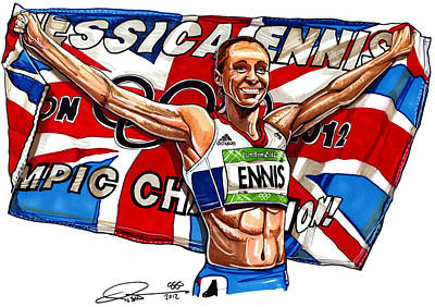 Adidas Drawing - Jessica Ennis by Dave Olsen