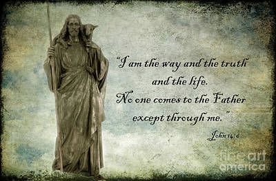 Winter Scenes Photograph - Jesus - Christian Art - Religious Statue Of Jesus - Bible Quote by Kathy Fornal