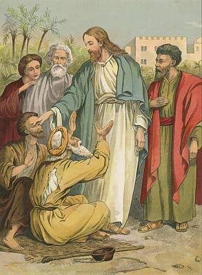 Jesus And The Blind Men Print by English School
