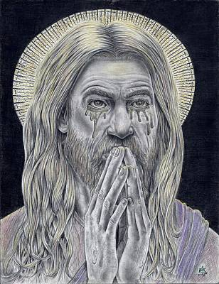 Jesus Crying For Us Print by Vincnt Clark