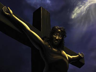 Jesus On The Cross Print by Shane Robinson