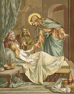 Bed Painting - Jesus Raising Jairus's Daughter by John Lawson