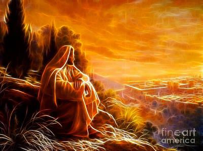 Jesus The King Mixed Media - Jesus Thinking About People by Pamela Johnson