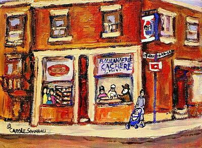Montreal Buildings Painting - Jewish Montreal Vintage City Scenes Hutchison Street Butcher Shop  by Carole Spandau