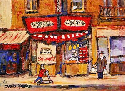 Montreal Buildings Painting - Jewish Montreal Vintage City Scenes Schwartzs Original Hebrew Deli by Carole Spandau