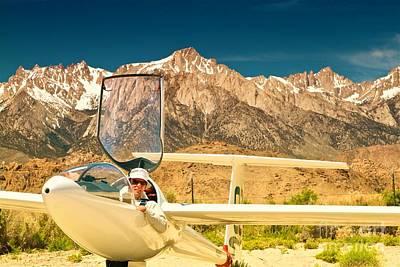Archer Digital Art - Jim Archer And Kestrel Sailplane Lone Pine California by Gus McCrea