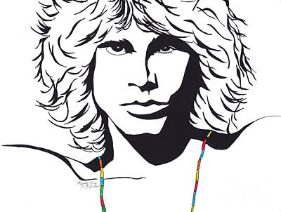 Historic Site Drawing - Jim Morrison by Marty Rice