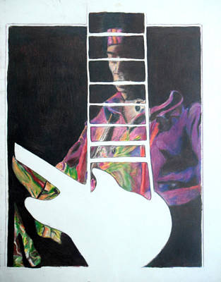 Strat Drawing - Jimi Hendrix Perspective  by Jon Baldwin  Art