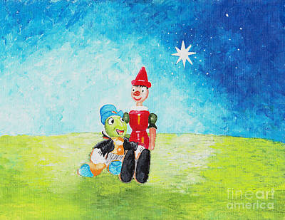 Jiminy Cricket And Pinocho Original by William Bowers
