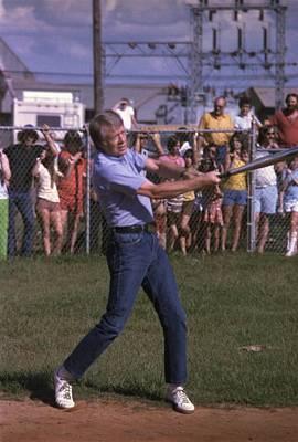 Jimmy Carter At Bat During A Softball Print by Everett
