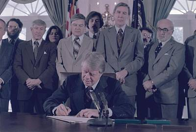 Jimmy Carter Signs The Endangered Print by Everett
