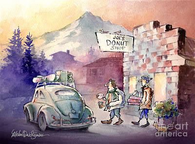 Beetle Cat Painting - Joe's Donuts by Michael David Sorensen