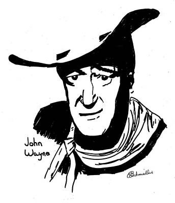 John Wayne Drawing - John Wayne by Gail Schmiedlin