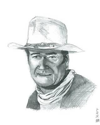 John Wayne Drawing - John Wayne by Thomas Elliott