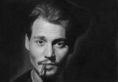 Nats Drawing - Johnny Depp by Nat Morley