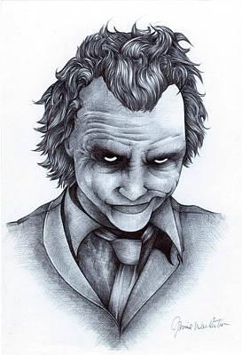 Heath Ledger Drawing - Joker by Jamie Warkentin