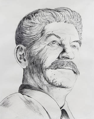 Moscow Drawing - Joseph Stalin by Daniel Young