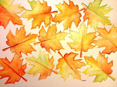 Reds Of Autumn Drawing - Joy Of Fall by Jessica Aviles