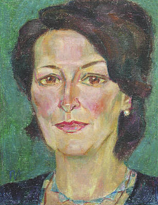 Green Painting - Julia Resnick by Leonid Petrushin