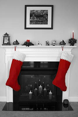 Decorated For Christmas Photograph - Jumbo Red Stockings by Sally Weigand