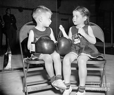 Boys Boxing Photograph - Junior Boxer, 1939 by Granger