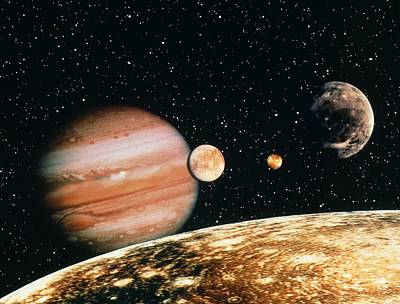 Jupiter And The Galilean Moons Seen From Callisto Print by