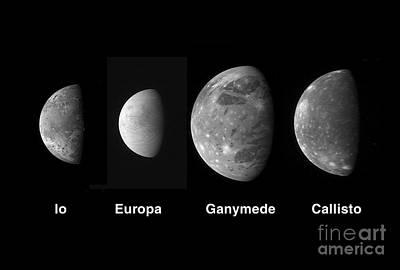Jupiters Galilean Moons Print by Stocktrek Images