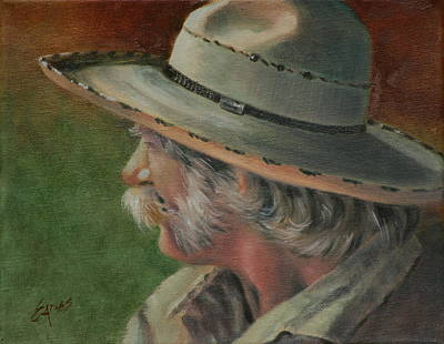 Character Studies Painting - Just An Old Cowhand by Linda Eades Blackburn