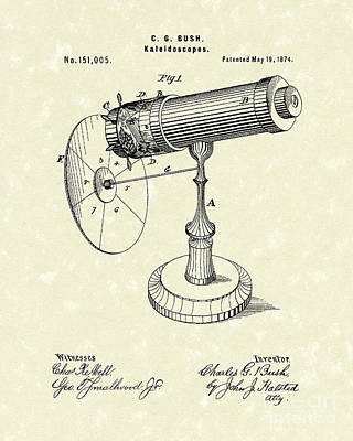 1874 Drawing - Kaleidoscopes 1874 Patent Art by Prior Art Design