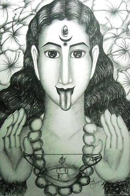 Hindu Goddess Drawing - Kali God by Sri Mala
