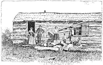 Kansas: Early House, 1854 Print by Granger