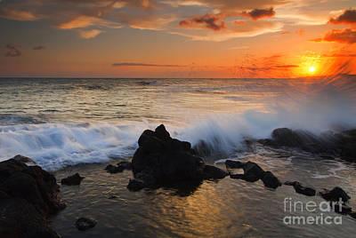 Kauai Sunset Explosion Print by Mike  Dawson