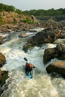 Kayaker Running Waterfalls At Great Print by Skip Brown