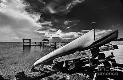 Kayaks Bw Print by Bruce Bain