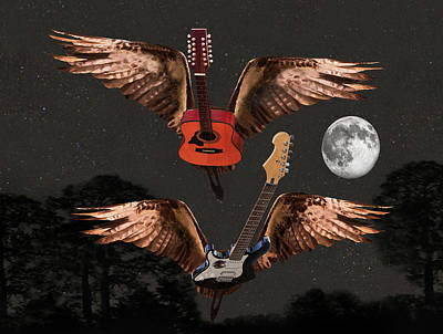 Flying Guitars Digital Art - Keep Reaching Up by Eric Kempson
