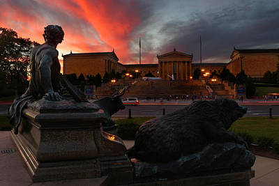 Entrance Memorial Photograph - Keeper Of The Ox And Bear -  Philadelphia Museum Of Art - Washington Monument Fountain  by Lee Dos Santos