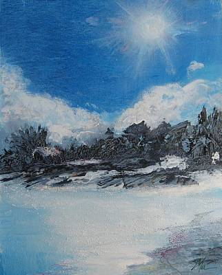 Snowscape Mixed Media - Keeping Cool by Melody Horton Karandjeff