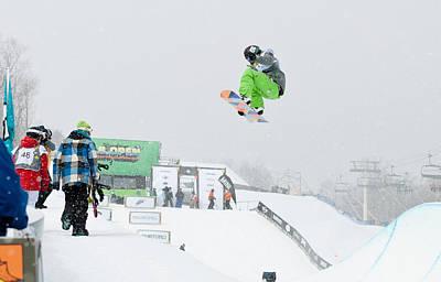 Kelly Clark Womens U S Snow Boarding Open 2011 Print by Linda Pulvermacher