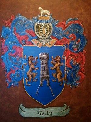 Family Painting - Kelly Coat Of Arms And Family Crest by Nancy Rutland