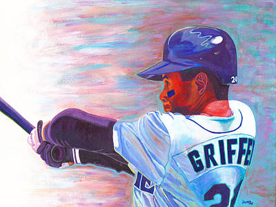 Major League Baseball Painting - Ken Griffey Jr by Jeff Gomez